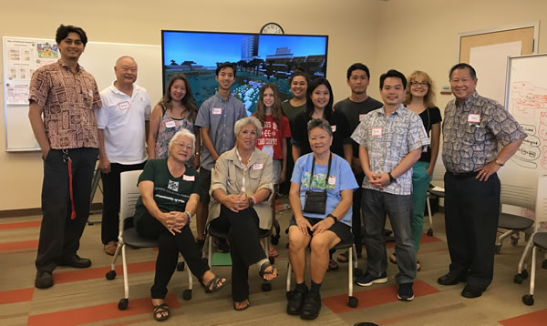 World Youth Congress delegates, Lanakila Senior Center Members, Christy Nishita (AFH Consultant), and Gabe Yanagihara (Iolani Minecraft teacher) at the Age-Friendly City workshop.