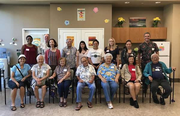 World Youth Congress delegates, Plaza Assisted Living Waikiki residents, Mike Packard (Complete Streets Administrator), and Frank Streed (AFH Co-Chair) at the Age-Friendly City workshop.